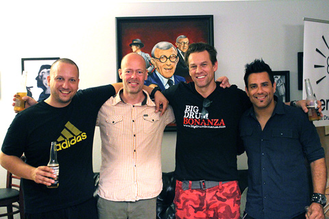 Big Drum Bonanza 2015 - Vi hænger ud til 4th of July. Gergo Borlai, mig selv, Thomas Lang og Rich Redmond.